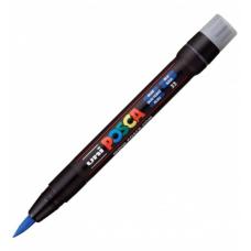 Marker pensula UNI Posca Brush PCF-350, K, albastru