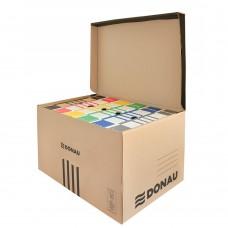 Container de arhivare cu capac deschidere superioara, carton 450gsm, DONAU - negru/kraft