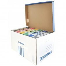 Container de arhivare cu capac deschidere superioara, carton 450gsm, DONAU - albastru/alb